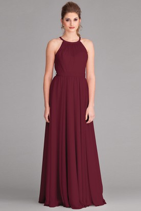 Scoop Neck Bowed Sleeveless Chiffon Bridesmaid Dress With Pleats