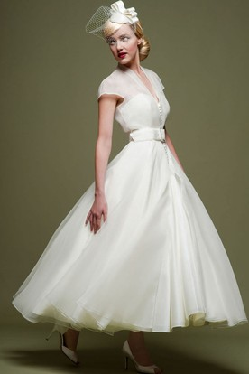 Ankle Length A Line Ribboned V Neck Cap Sleeve Tulle Wedding Dress