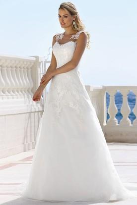Petite wedding dresses wedding gowns for short brides ucenter dress long v neck appliqued sleeveless satin wedding dress junglespirit Gallery