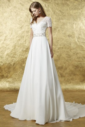 Short sleeve wedding dresses wedding dresses with sleeves a line maxi lace v neck short sleeve chiffon wedding dress junglespirit Images