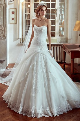 Strapless A Line Wedding Dress With Side D And Lace Liques