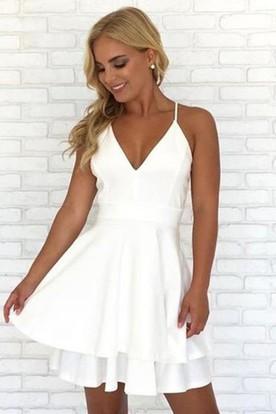 152ee352fa92 A-line Short Mini Sleeveless Spaghetti V-neck Lace Tiers Chiffon Homecoming  Dress ...