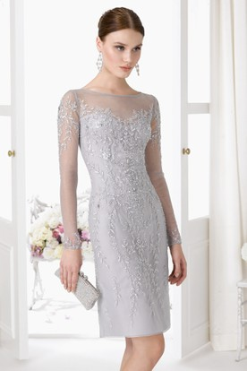 Short Beaded Illusion Sleeve Bateau Neck Tulle Prom Dress