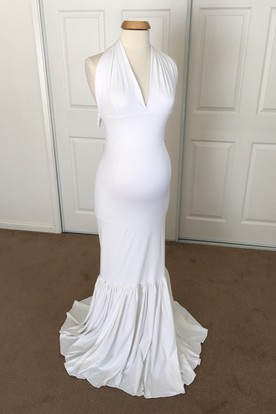 c04b90acd1a Mermaid Jersey V-neck Sleeveless Pleated Ruched Maternity Dress ...