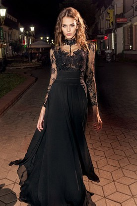 A Line High Neck Long Sleeve Lace Chiffon Illusion Dress With Liques