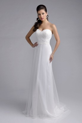 00002d56ce1 Lace Bodice Chiffon Skirt A-Line Wedding Dress With Sweetheart Neck ...
