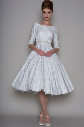 A Line Tea Length 3 4 Sleeve Bateau Neck Jeweled Satin Wedding Dress