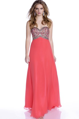 851a0735711 A-Line Chiffon Sweetheart Prom Dress With Rhinestone Bust And Open Back ...