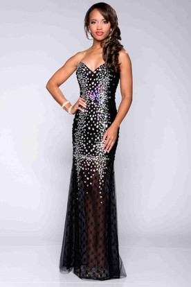 Strapless Prom Dresses with Diamonds