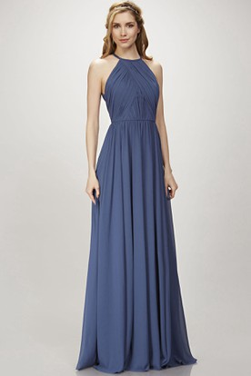 15027277ed3 A-Line Scoop Maxi Pleated Sleeveless Chiffon Bridesmaid Dress With Keyhole  Back ...
