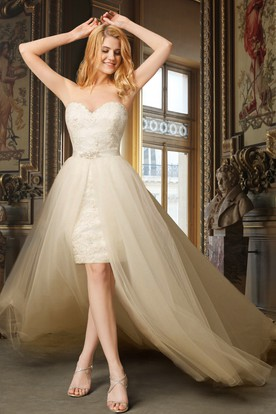Detachable Wedding Gowns Bridal Dresses With Detachable Skirt