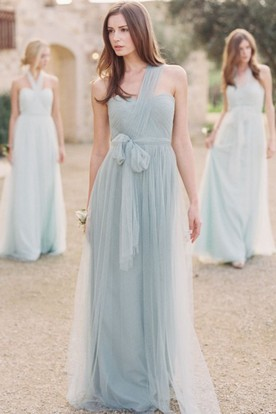 One Shoulder Long Bowed Tulle Bridesmaid Dress With Ruching