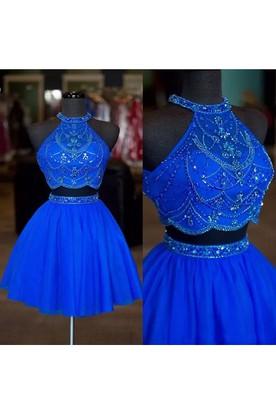 9347a3d52883 Two Piece Short Mini Sleeveless Halter High Neck Beading Chiffon Homecoming  Dress ...