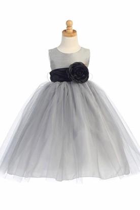 Silver flower girl dresses ucenter dress tea length tiered tulle flower girl dress mightylinksfo