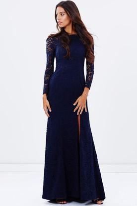 Split Front Jewel Neck Long Sleeve Lace Bridesmaid Dress