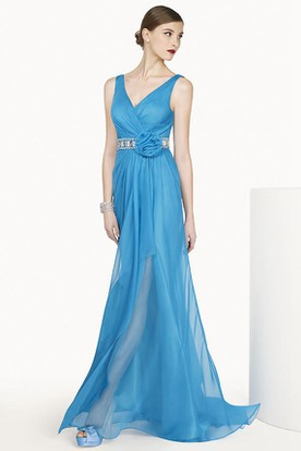 V Neck Sleeveless A-line Chiffon Long Dress With Crystal Flower Waist