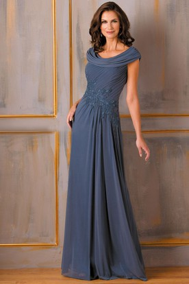 3bbae2778e3 Cap-Sleeved A-Line Mother Of The Bride Dress With Appliques And Draping ...