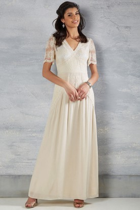 c97c71d2dedd Bateau-Neck Short-Sleeve Ankle-Length Chiffon Wedding Dress With Keyhole ...