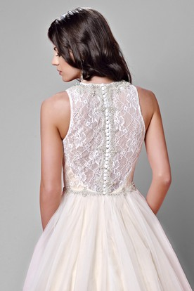 c6c7fe5a48f ... A-Line Tulle Sleeveless Jewel Neck Wedding Dress Featuring Lace Bodice