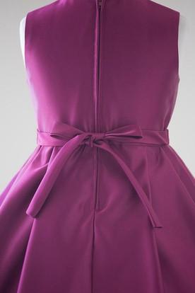 784687f015a ... Midi Split Split-Front Beaded Satin Flower Girl Dress With Ribbon