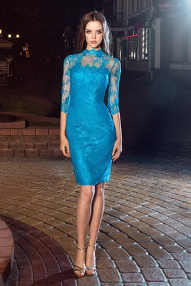 7ea34e250c8 Pencil Knee-Length High Neck Half Sleeve Lace Illusion Dress With Appliques  And Split Back ...