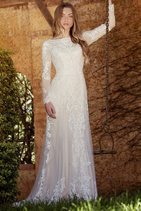 Sheath Long Sleeve High Neck TulleLace Wedding Dress With Sweep Train