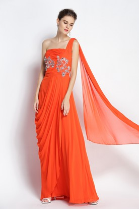 dc7e5048b4 Floor-length Sleeveless A-Line One-shoulder Chiffon Prom Dress with Beading  and ...