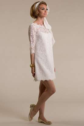 87f1f1a892f Sheath Short Scoop-Neck 3-4-Sleeve Lace Wedding Dress With Appliques And ...