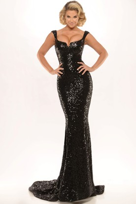 594f0601b4e4 Sheath Split-Front Sweetheart Floor-Length Sleeveless Sequins Prom Dress  With Backless Style And ...