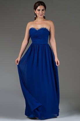 Sweetheart A-Line Chiffon Long Bridesmaid Dress With Crystal Neckline 6435f35a0d6d