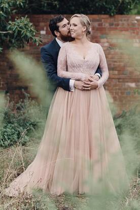 74575b0a85 A Line V-neck Lace Tulle Open Back Zipper Wedding Dress ...