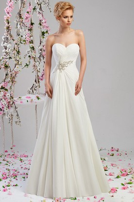 A Line Sweetheart Chiffon Wedding Dress With Criss Cross And Lace Up