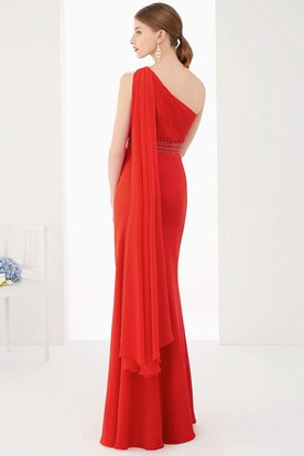 28e871f9d8 ... Single Strap Side Drape Sheath Chiffon Long Prom Dress With Empire Waist