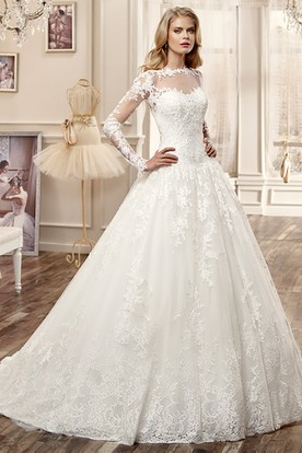 High neck wedding dresses high neck wedding gowns ucenter dress long sleeve a line wedding dress with brush train and appliques junglespirit Images