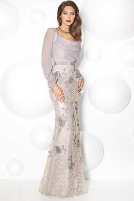 bc7b60fa33b5 Sheath Puff-Sleeve Scoop-Neck Floral Floor-Length Prom Dress With Beading  And ...