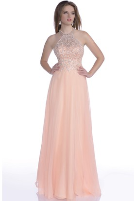 60051761482 Beaded Corset Chiffon A-Line Prom Dress With Shining Halter ...