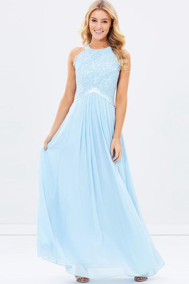 Liqued Scoop Neck Sleeveless Chiffon Bridesmaid Dress With Ribbon