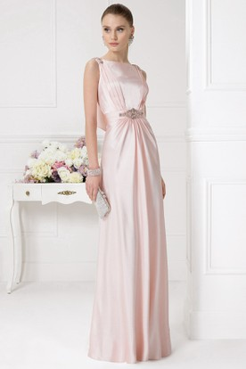Sheath Jeweled Long Jewel Neck Short Sleeve Satin Prom Dress With Beading  ...