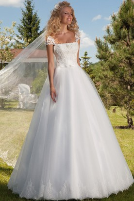 A Line Appliqued Cap Sleeve Square Neck Tulle Wedding Dress With Lace Up ...