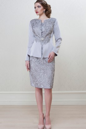 f35295ddddd0 Pencil Knee-Length Long Sleeve Bateau Neck Appliqued Satin Mother Of The Bride  Dress ...