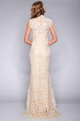 a52731c0659 ... Column Lace Cap Sleeve High Neck Prom Dress With Crystal Detailing