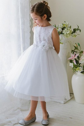 6f388ba9340 Tea-Length Floral Tiered Tulle Lace Flower Girl Dress