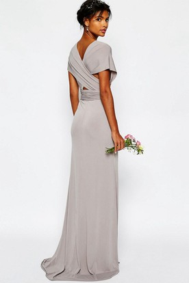Sheath V Neck Sash Floor Length Short Sleeve Chiffon Bridesmaid Dress