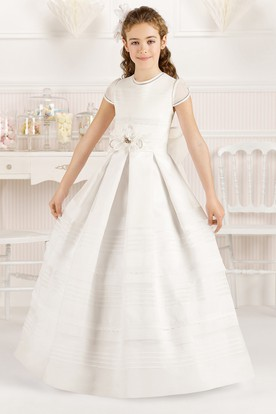 b8228fbdfeed A-Line Floor-Length Short-Sleeve Scoop-Neck Floral Organza Flower Girl