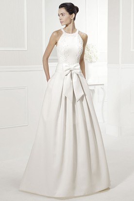 Halter Style Taffeta Bridal Gown With Bow And Liques