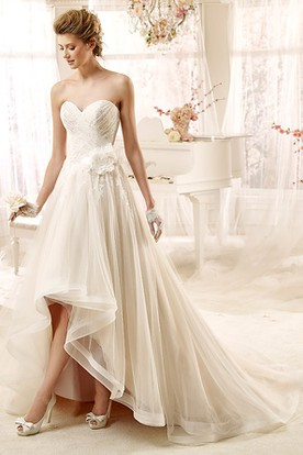 adcd6c596f2 Sweetheart high-low Wedding Dress with Flower and Ruching Rim