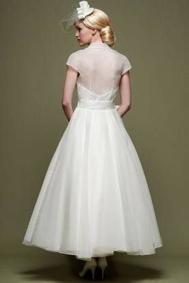... Ankle Length A Line Ribboned V Neck Cap Sleeve Tulle Wedding Dress