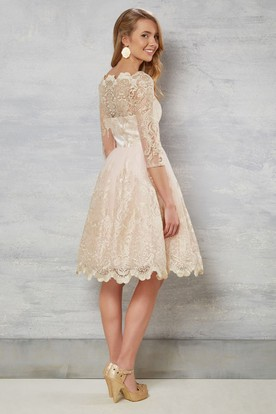 00ffe721e06 ... A-Line Bateau-Neck Knee-Length 3-4-Sleeve Lace Wedding