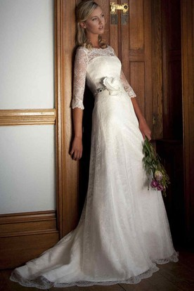 Sheath Half Sleeve Bateau Neck Lace Wedding Dress With Waist Jewellery