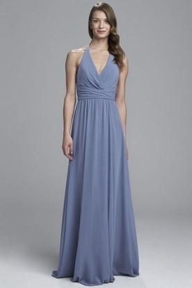 2e86131d93 Sheath V-Neck Floor-Length Ruched Sleeveless Chiffon Bridesmaid Dress ...